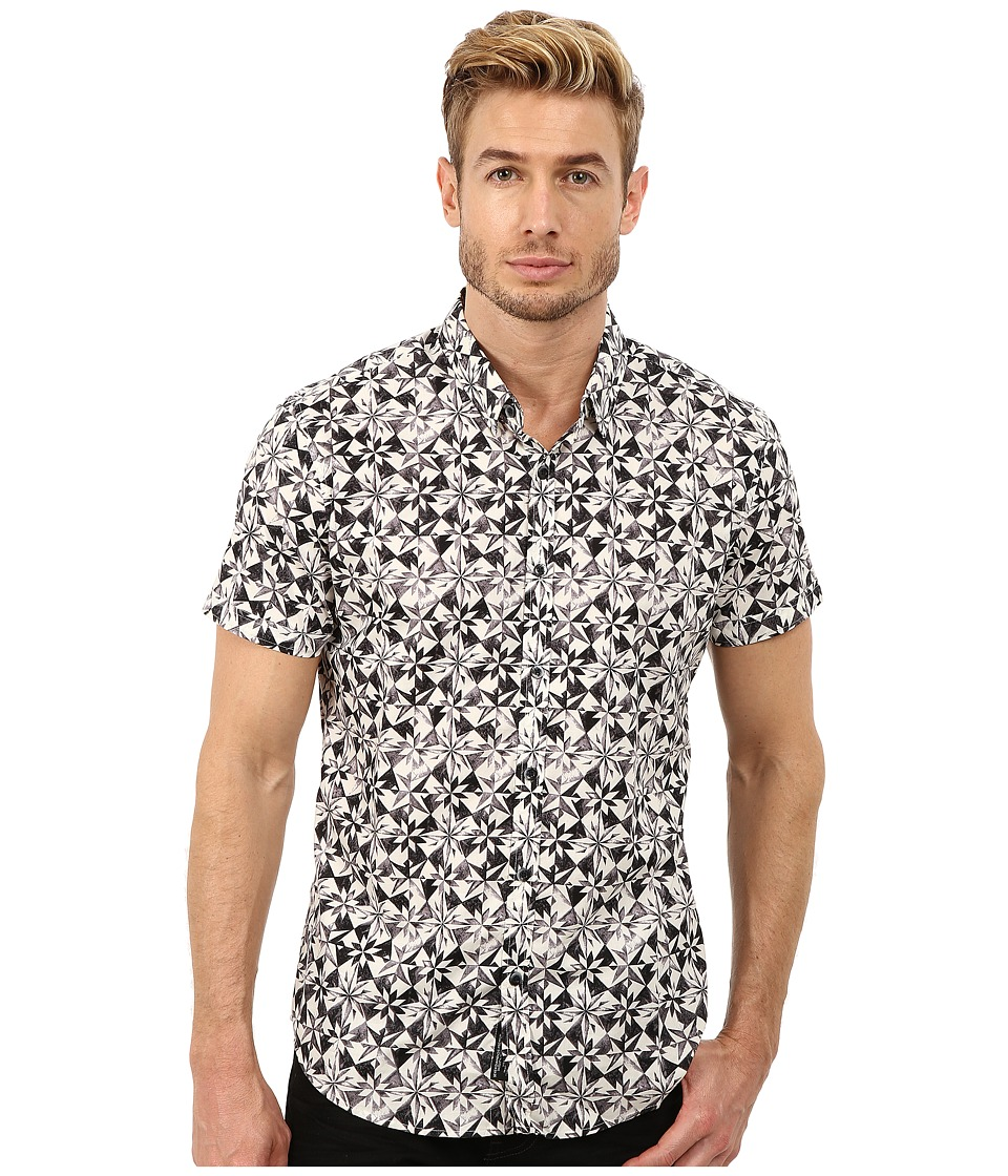 7 Diamonds - Windrose Top (Charcoal) Men's Short Sleeve Button Up