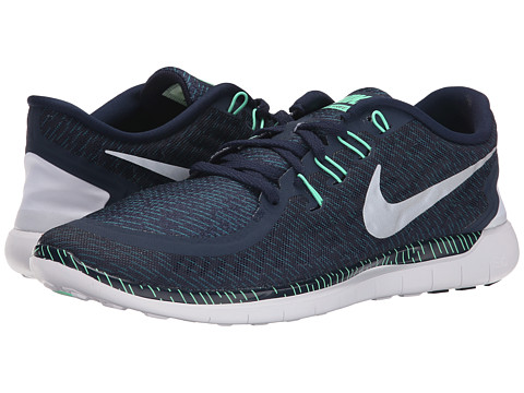 Nike - Free 5.0 Print (Obsidian/Green Glow/Black/Reflect Silver) Men's Running Shoes