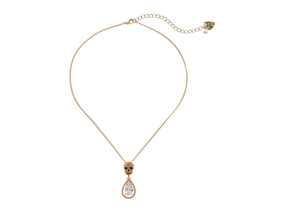 Betsey Johnson - All That Glitters Gold Skull Double Drop Pendant (Crystal) Necklace