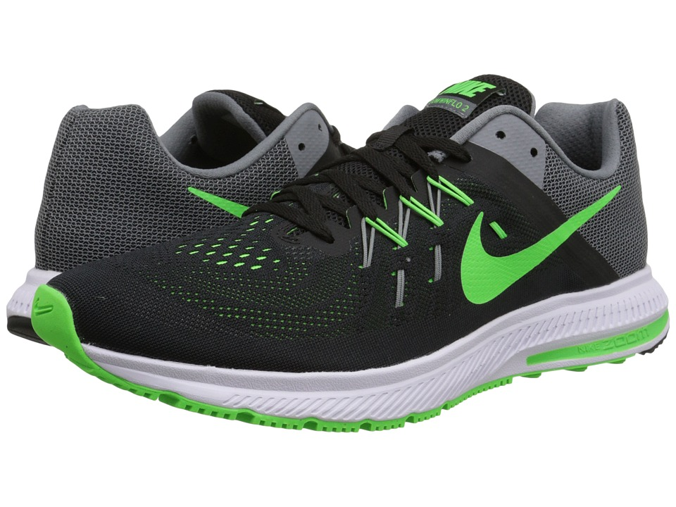 Nike - Zoom Winflo 2 (Black/Cool Grey/White/Green Strike) Men's Running Shoes