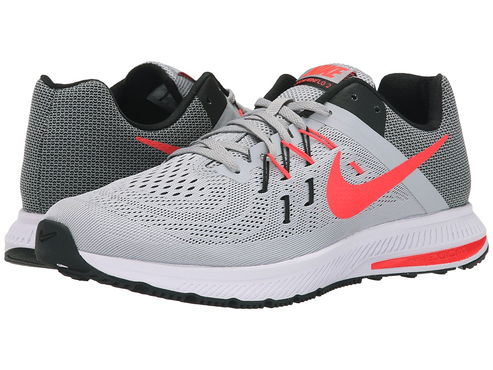 Nike - Zoom Winflo 2 (Wolf Grey/Black/White/Bright Crimson) Men's Running Shoes