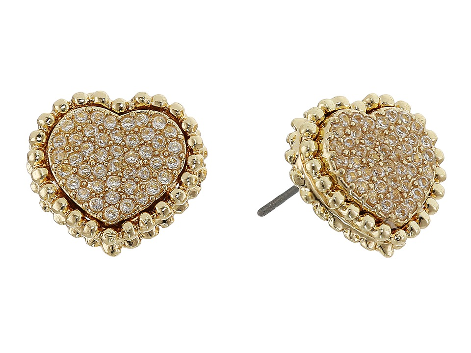Betsey Johnson - All That Glitters Crystal and Gold Heart Studs (Gold) Earring