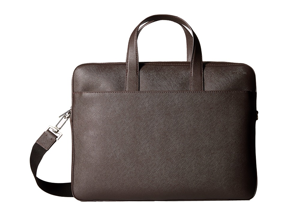 Jack Spade - Barrow Leather Slim Brief (Brown) Briefcase Bags