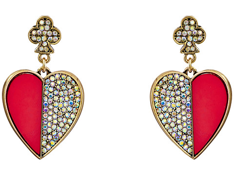 Betsey Johnson - Casino Royale Large Heart Drop Earrings (Pink/Crystal) Earring