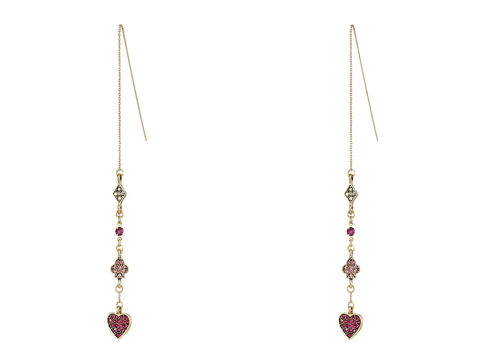 Betsey Johnson - Casino Royal Pave Linear Earrings (Pink/Crystal) Earring