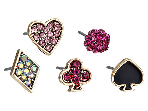 Betsey Johnson - Casino Royale 5 Set Stud Earrings (Pink/Crystal) Earring