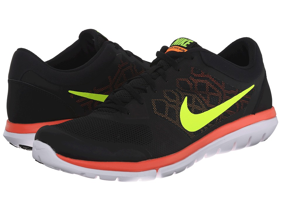 Nike - Flex 2015 RUN (Black/Laser Orange/Bright Citrus/Volt) Men's Running Shoes