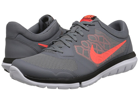 Nike - Flex 2015 RUN (Cool Grey/Bright Crimson/University Red/Hyper Orange) Men's Running Shoes
