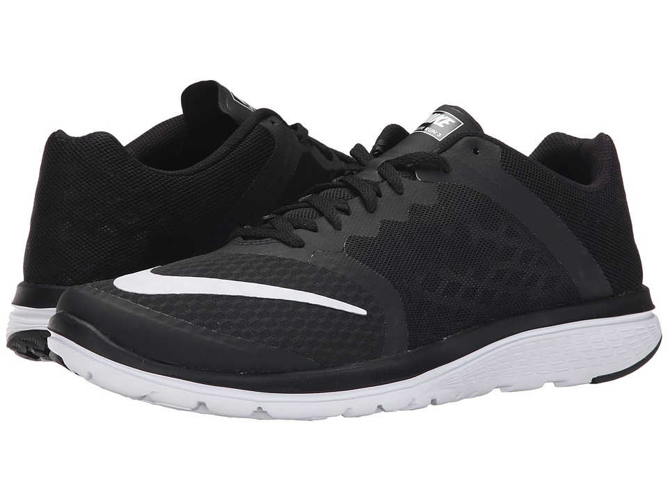 Nike - FS Lite Run 3 (Black/White) Men's Running Shoes
