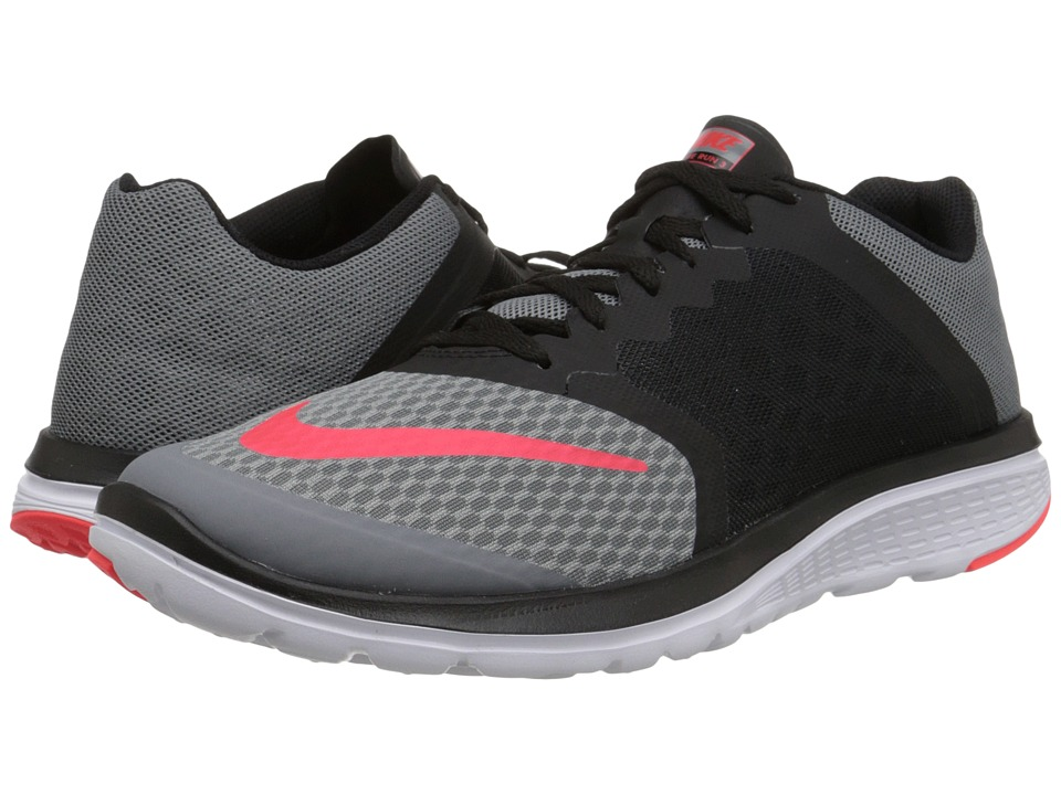 Nike - FS Lite Run 3 (Cool Grey/Black/White/Bright Crimson) Men's Running Shoes