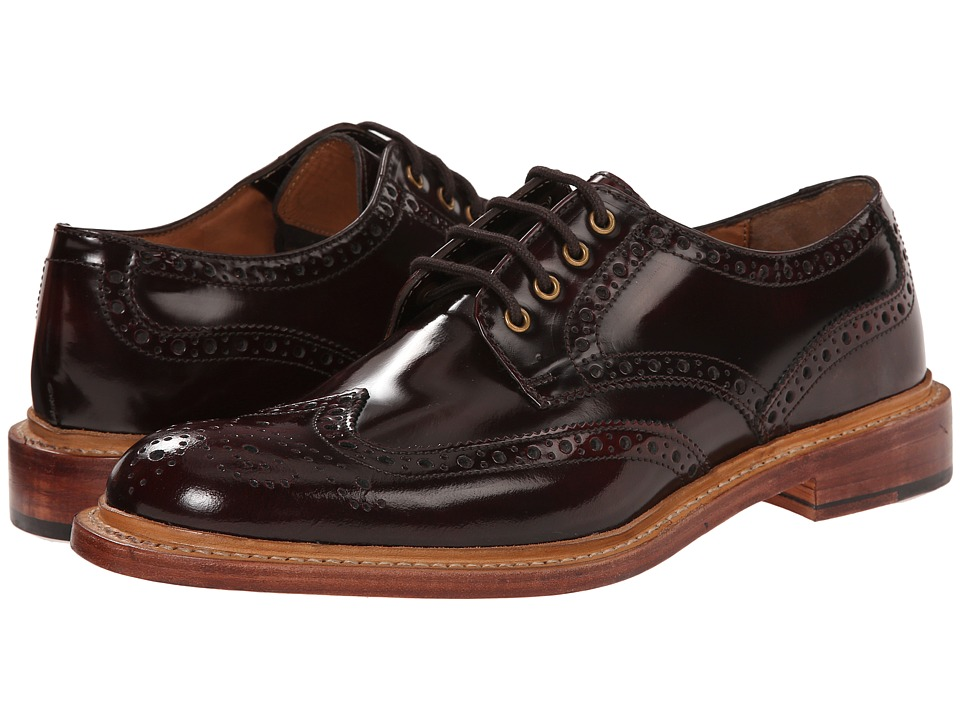 Lotus - Edward (Bordo Hi Shine Leather) Men's Lace Up Wing Tip Shoes