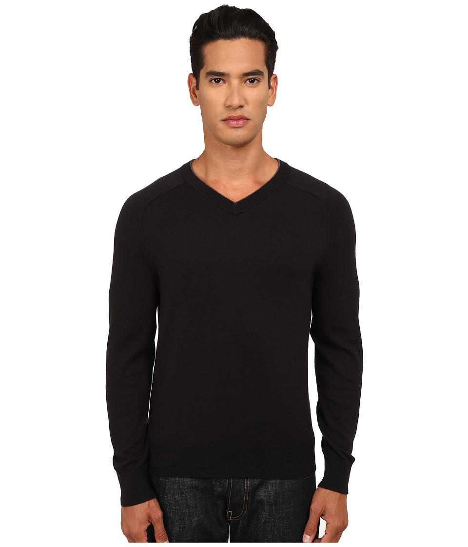 Jack Spade - Dexler Cotton V-Neck Sweater (Black) Men's Sweater