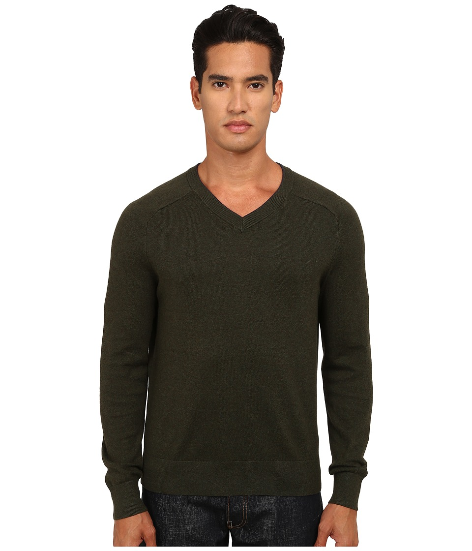 Jack Spade - Dexler Cotton V-Neck Sweater (Dark Sage) Men