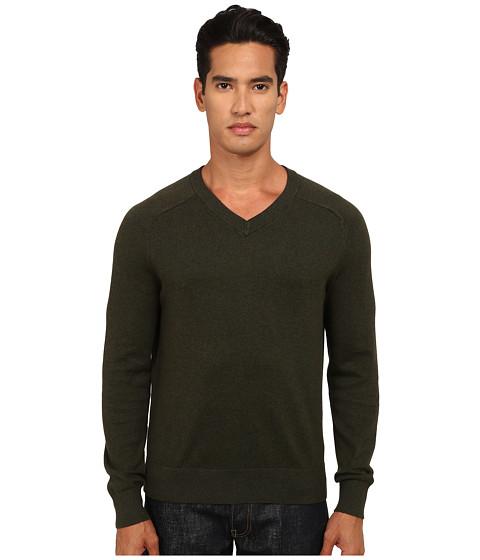Jack Spade - Dexler Cotton V-Neck Sweater (Dark Sage) Men