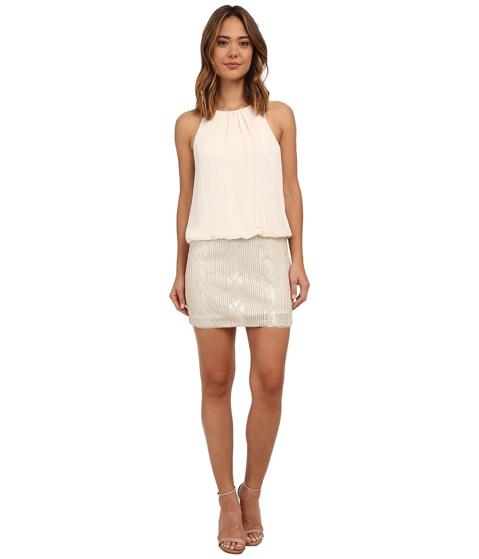 Aidan Mattox - Sleeveless Halter Blouson Dress w/ Bead Skirt (Champagne) Women's Dress