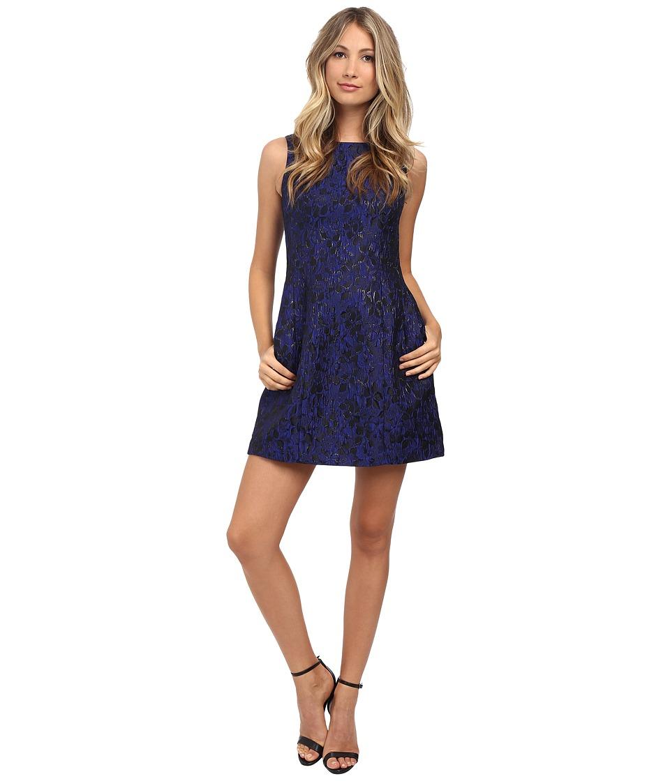 Aidan Mattox - Sleeveless Jacquard Cocktail Dress (Blue/Black) Women's Dress