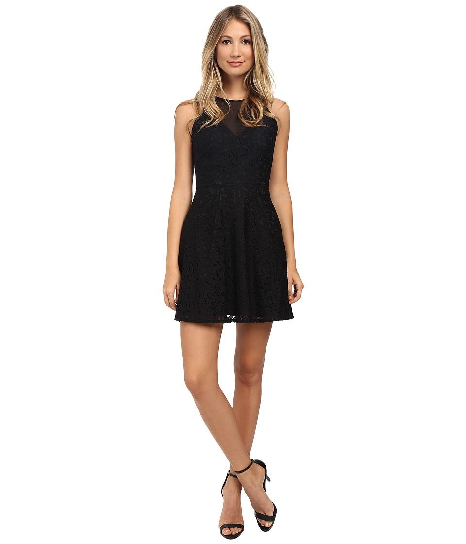 Aidan Mattox Illusion Front Short Lace Cocktail Dress (Black) Women