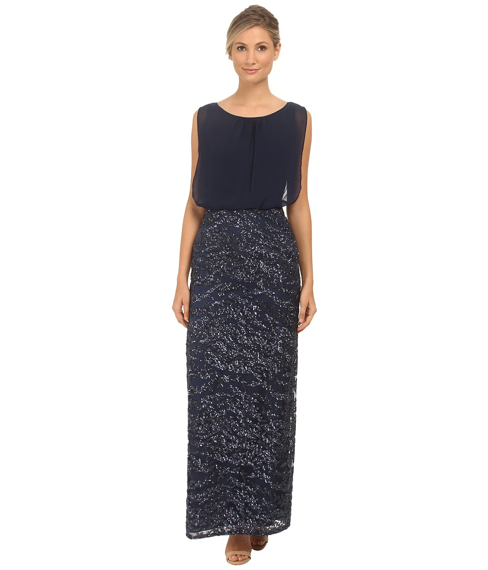 Aidan Mattox Long Blouson Dress (Navy) Women