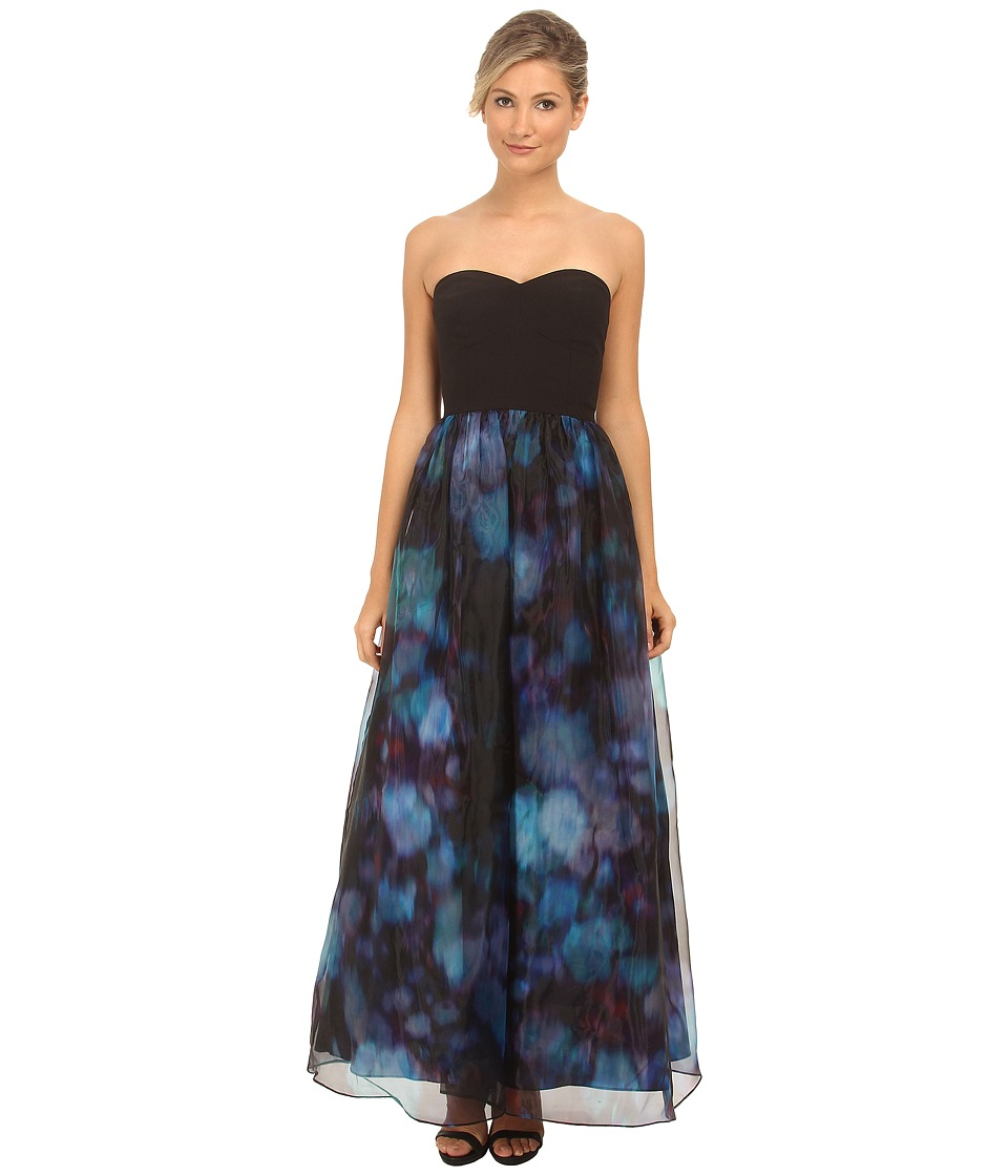 Aidan Mattox - Strapless Printed Organza Ball Gown (Black) Women's Dress