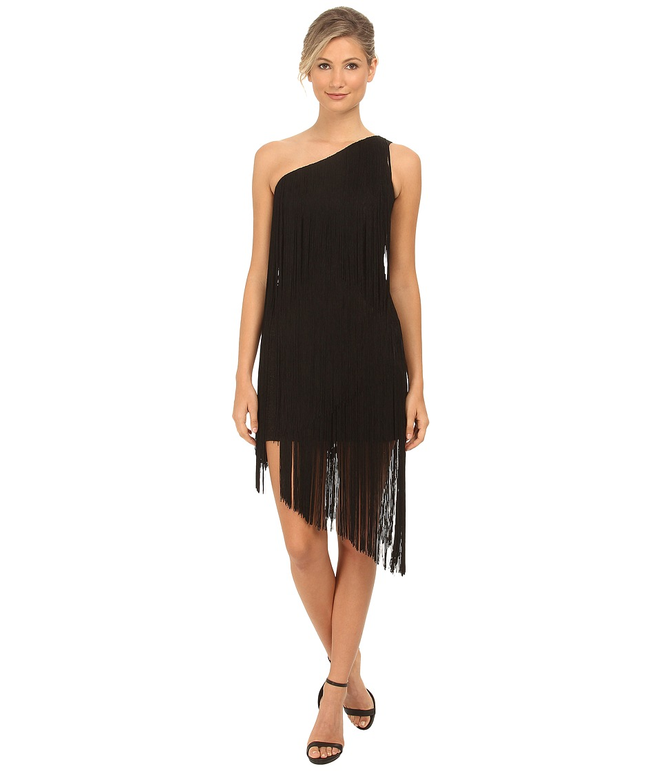 Aidan Mattox - One Shoulder Dramatic Fringe Cocktail Dress (Black) Women's Dress
