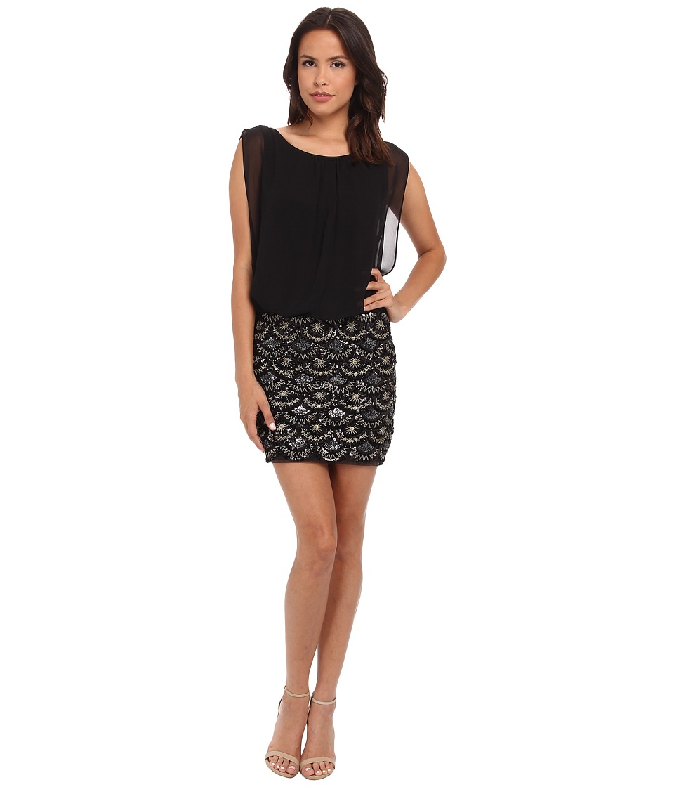 Aidan Mattox - Stretch Lace Beaded Skirt w/ Blouson Top (Black/Gold) Women's Dress