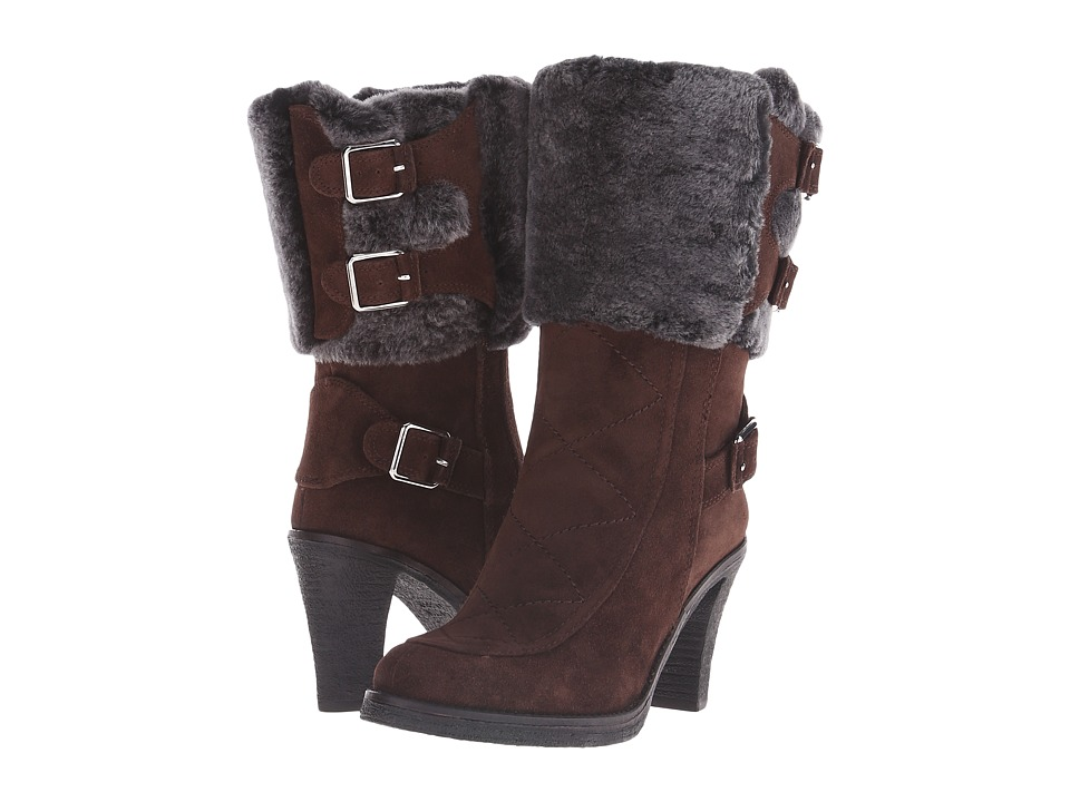 Johnston & Murphy - Jeanie Buckle Bootie (Espresso Suede/Black/Gray Shearling Cuff) Women's Dress Boots