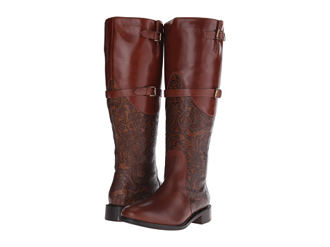 Johnston & Murphy - Lyla Full-Zip Boot (Roast Calfskin/Mahogany Tooled Leather) Women's Dress Zip Boots