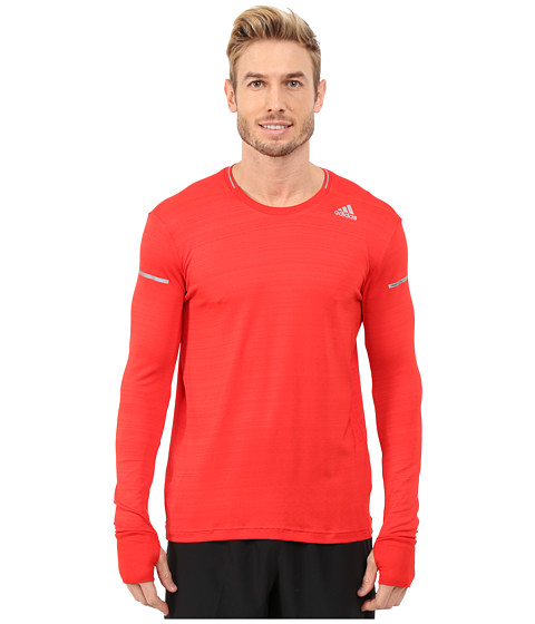 adidas - Sequencials Heathered Long Sleeve Tee (Vivid Red Heather) Men's Workout