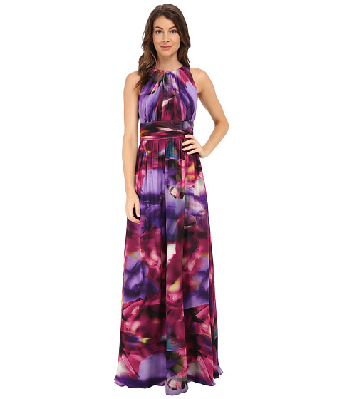 Badgley Mischka - Printer Full Back Halter Gown (Purple Multi) Women's Dress
