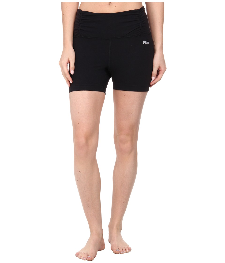 Fila - Ruched Waist Shorts (Black) Women's Shorts