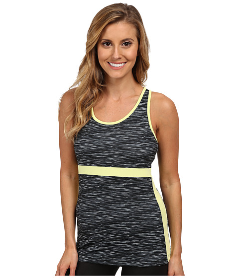 Fila - In The Moment Tank Top (Black Melange Print/Sunny Lime) Women's Sleeveless