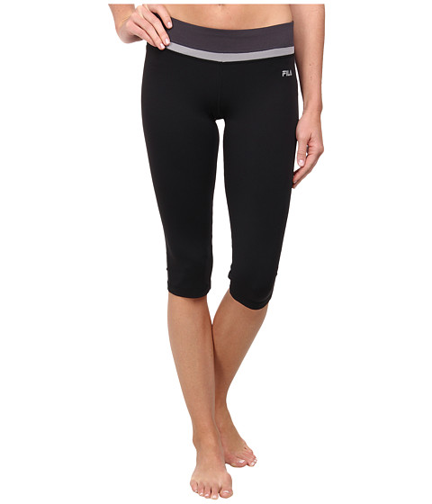 Fila - Tight Capri (Black/Silver Gray/Nine Iron) Women's Workout