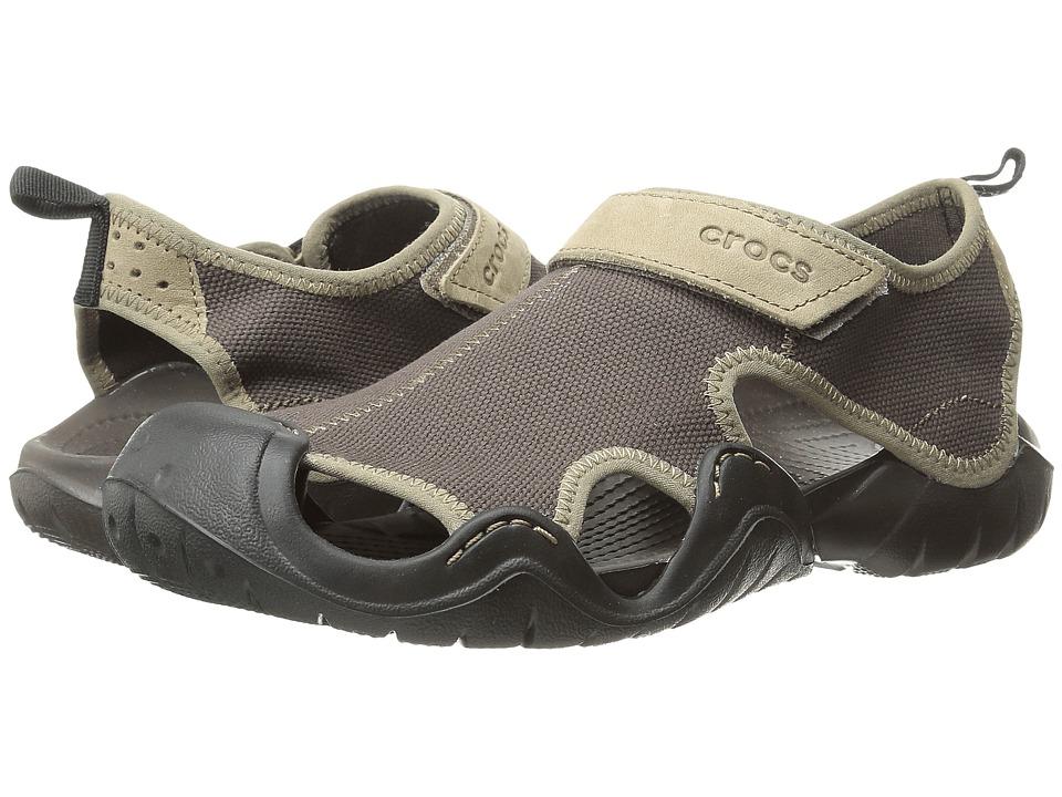 Crocs - Swiftwater Canvas Sandal M (Espresso/Black) Men's Sandals