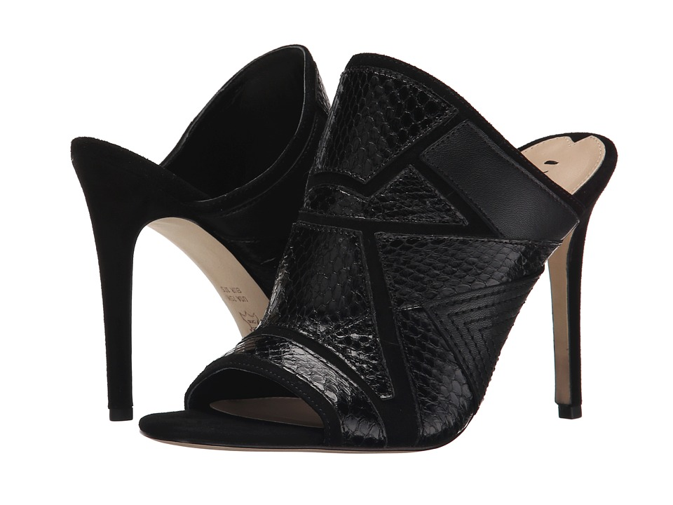Via Spiga - Tarot (Black/Black/Black Kid Suede/Nappa/Shiny Land Snake) High Heels