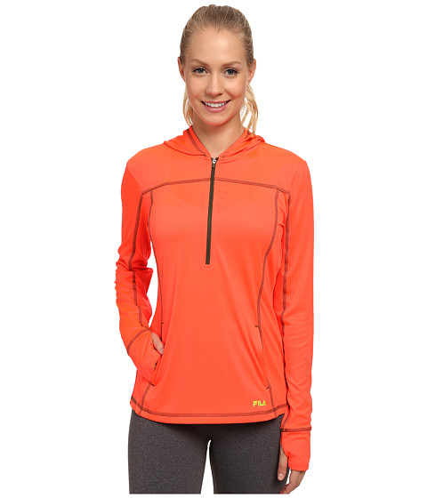 Fila - Zippy Hoodie (Fiery Coral/Rifle Green/Kiwi) Women's Sweatshirt