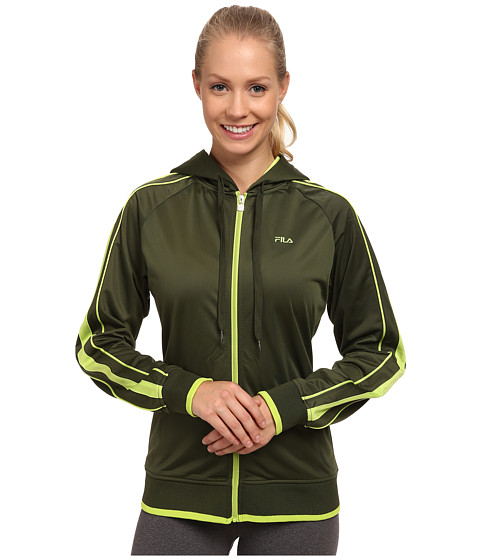Fila - On Track Hoodie (Rifle Green/Kiwi) Women's Sweatshirt