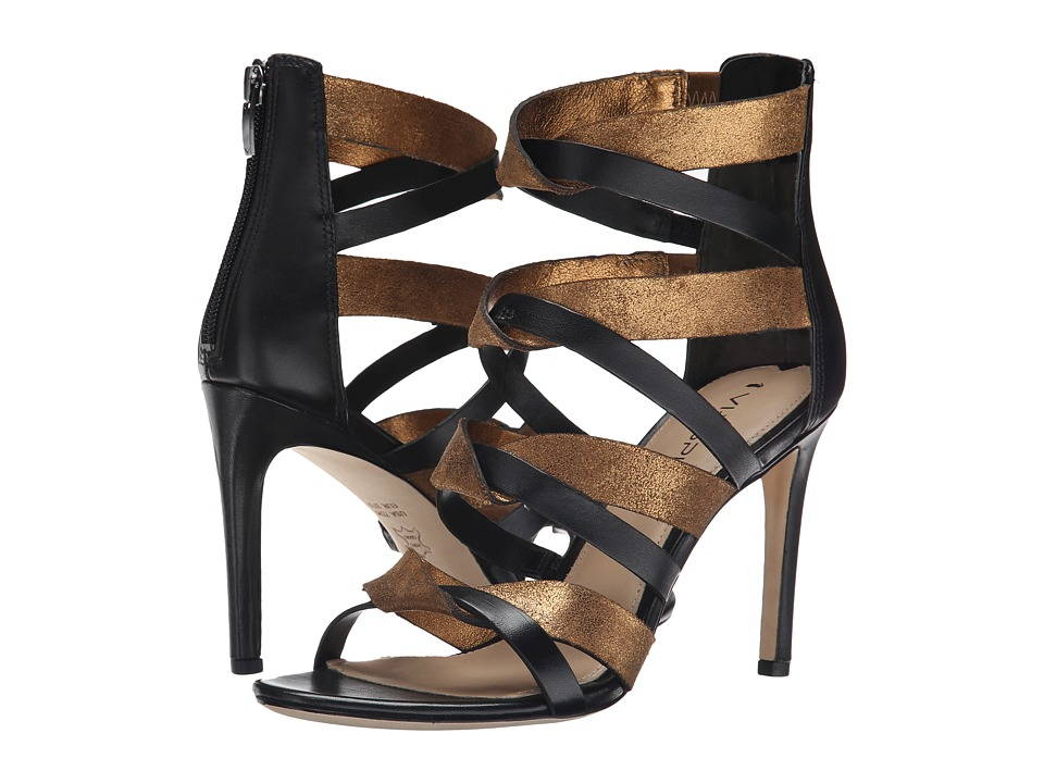 Via Spiga Elyse (Black/Bright Bronze Nappa/Glitter Suede) High Heels