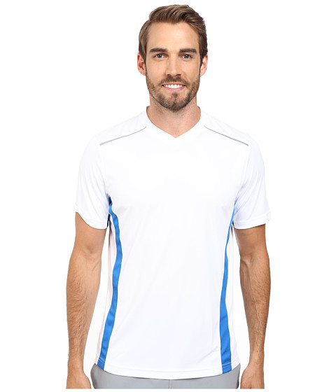 Fila - Sweet Spot V-Neck (White/Electric Blue/Slate Grey) Men's Clothing