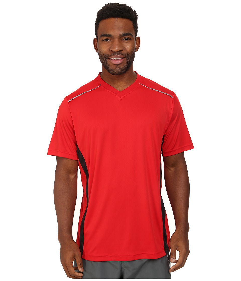Fila - Sweet Spot V-Neck (Chinese Red/Black/Electric Green) Men's Clothing