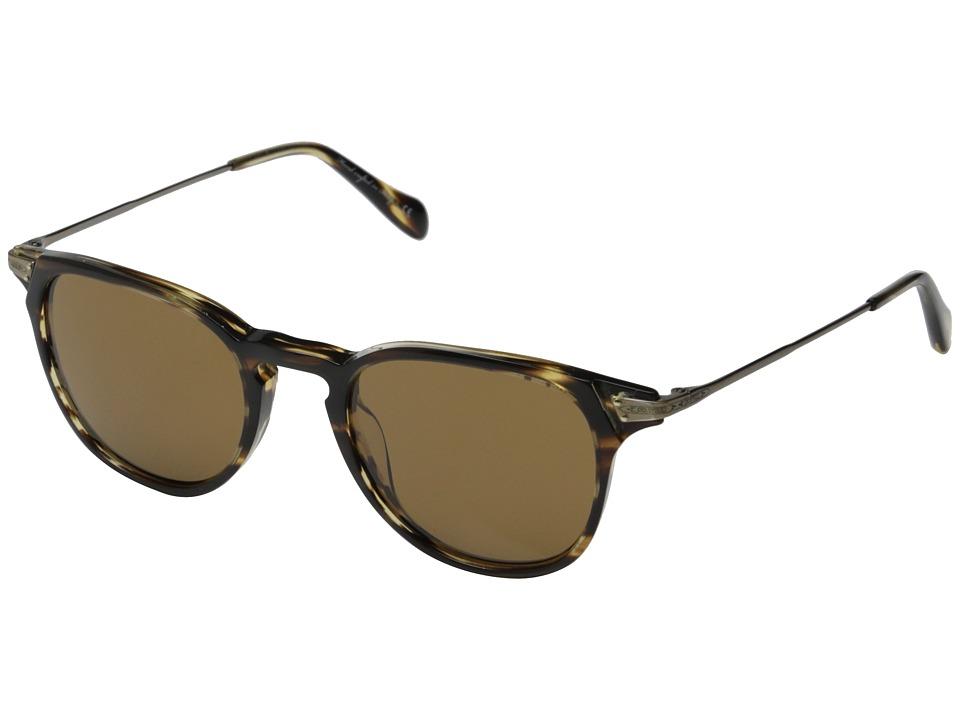Oliver Peoples - Ennis Sun (Cocobolo/Antique Gold/Cosmik Tone) Fashion Sunglasses