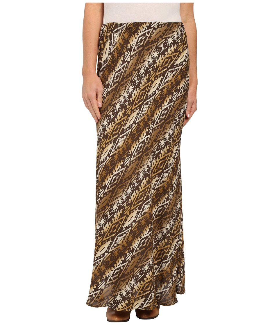 Roper - 9907 Aztec Print Rayon Maxi Skirt (Brown) Women's Skirt