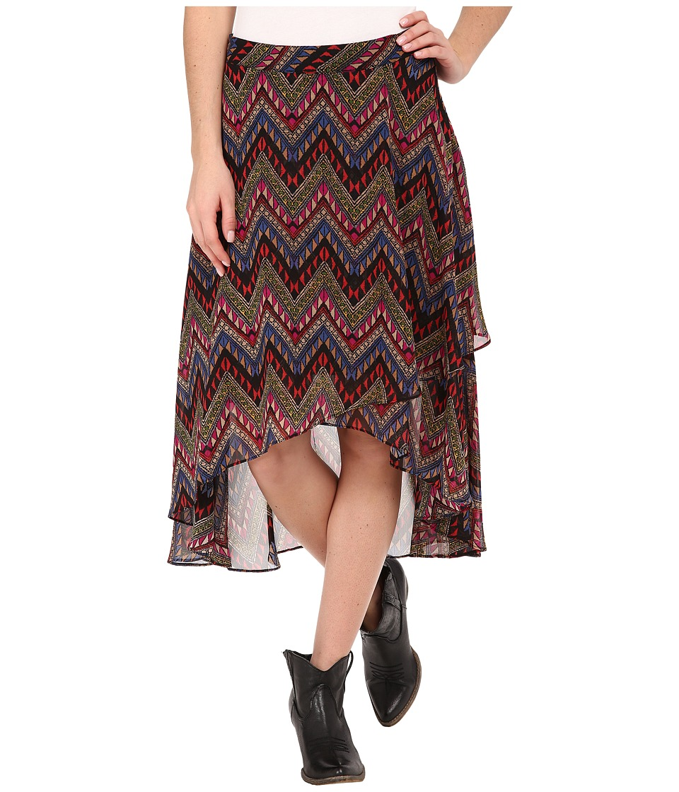 Roper - 9905 Aztec Print Georgette Skirt (Black) Women's Skirt