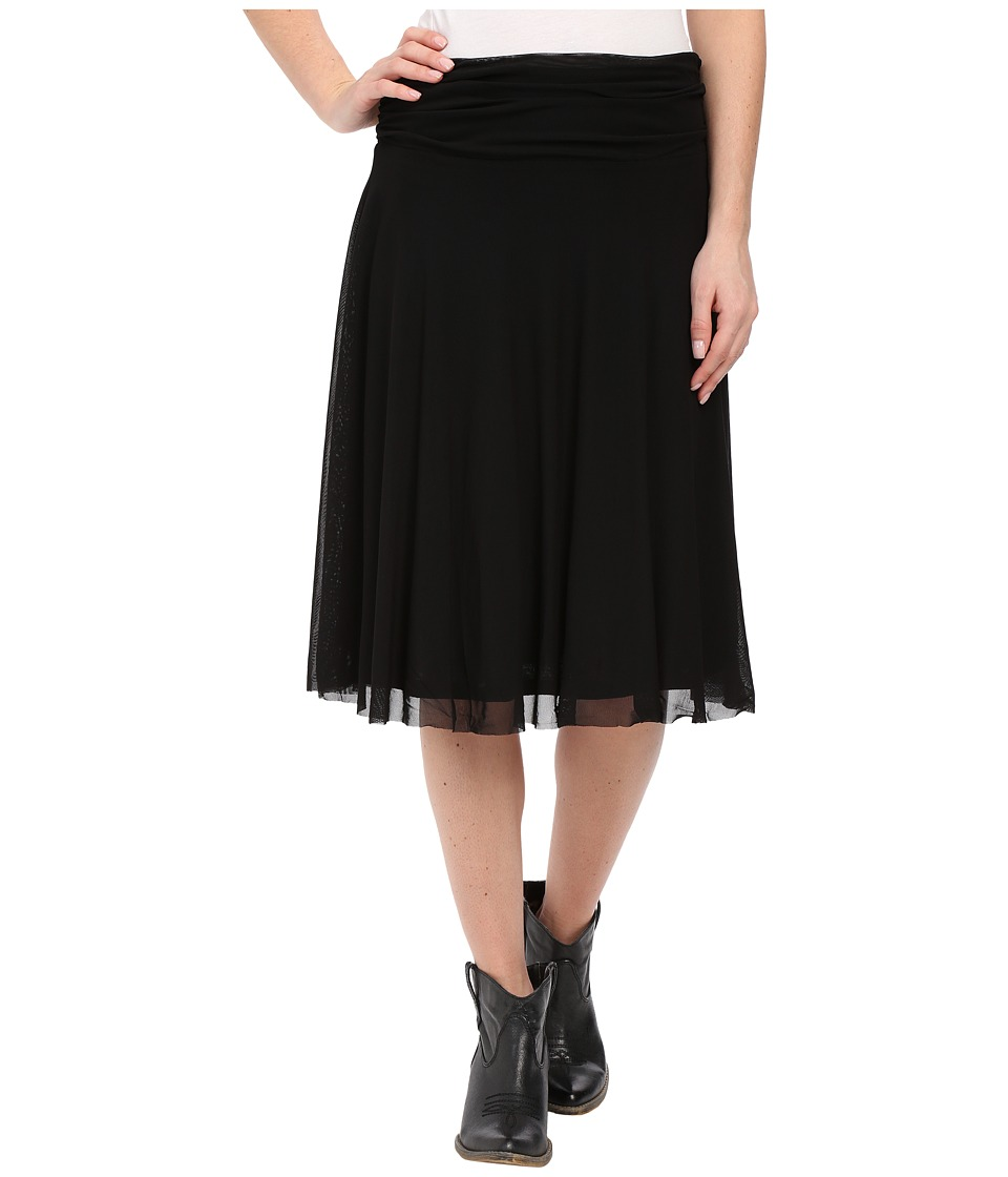 Roper - 9922 Solid Stretch Mesh Midi Skirt (Black) Women's Skirt