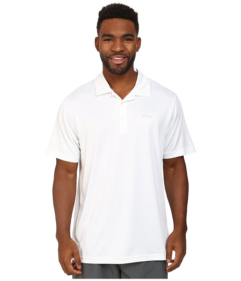 Fila - Performance Heather Polo (White) Men's Short Sleeve Pullover