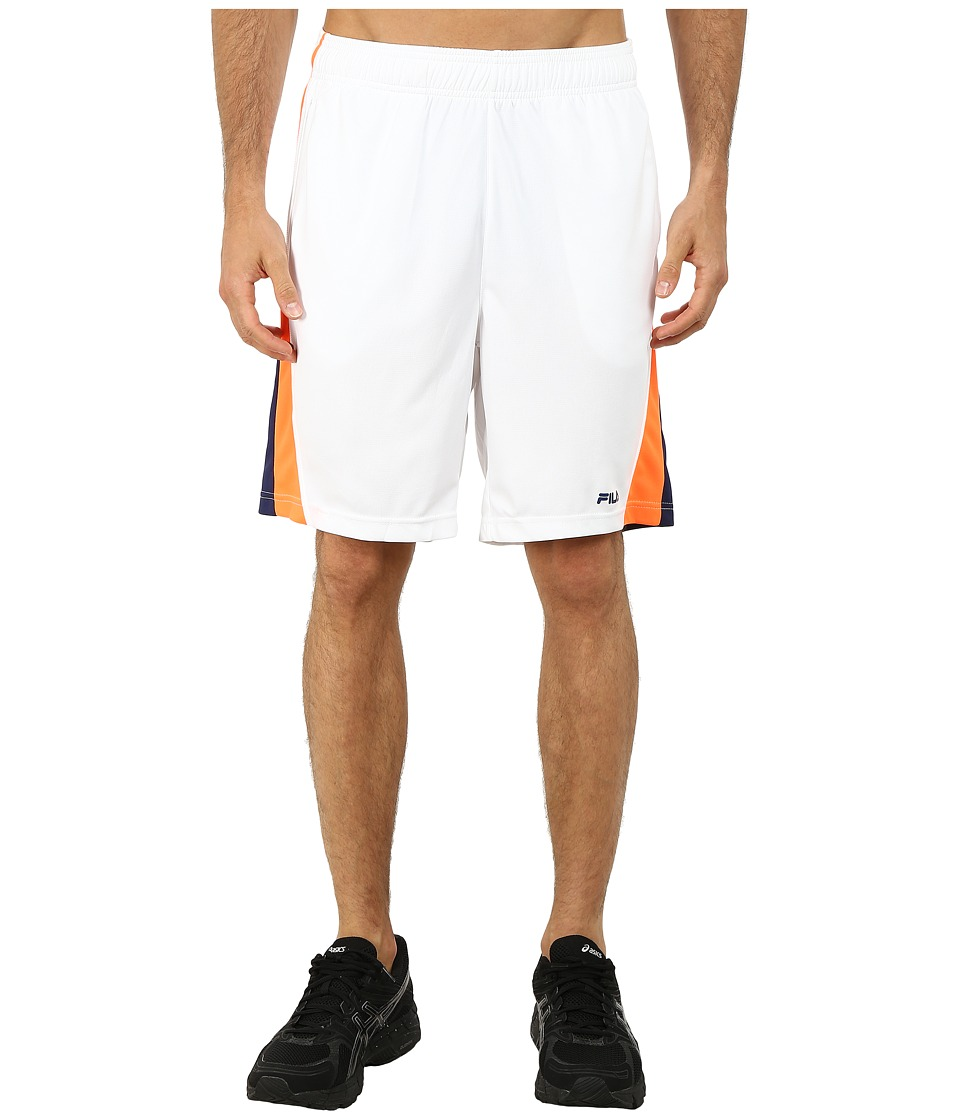 Fila - Fila Wave Shorts (White/Navy Power/Shocking Orange) Men