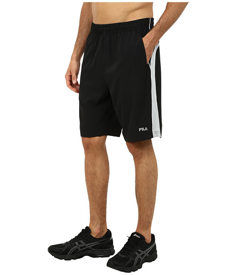 Fila - Woven Trainer Shorts (Black/High Rise/White) Men