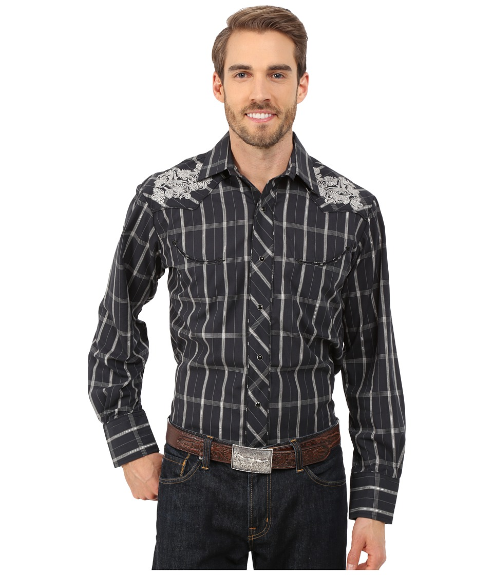Roper - 0099 Black Window Plaid (Black) Men's Long Sleeve Button Up