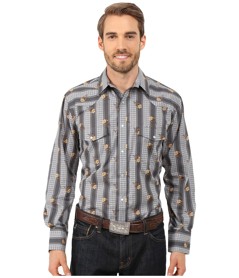 Roper - 0119 Wallpaper Floral Print (Grey) Men's Long Sleeve Button Up