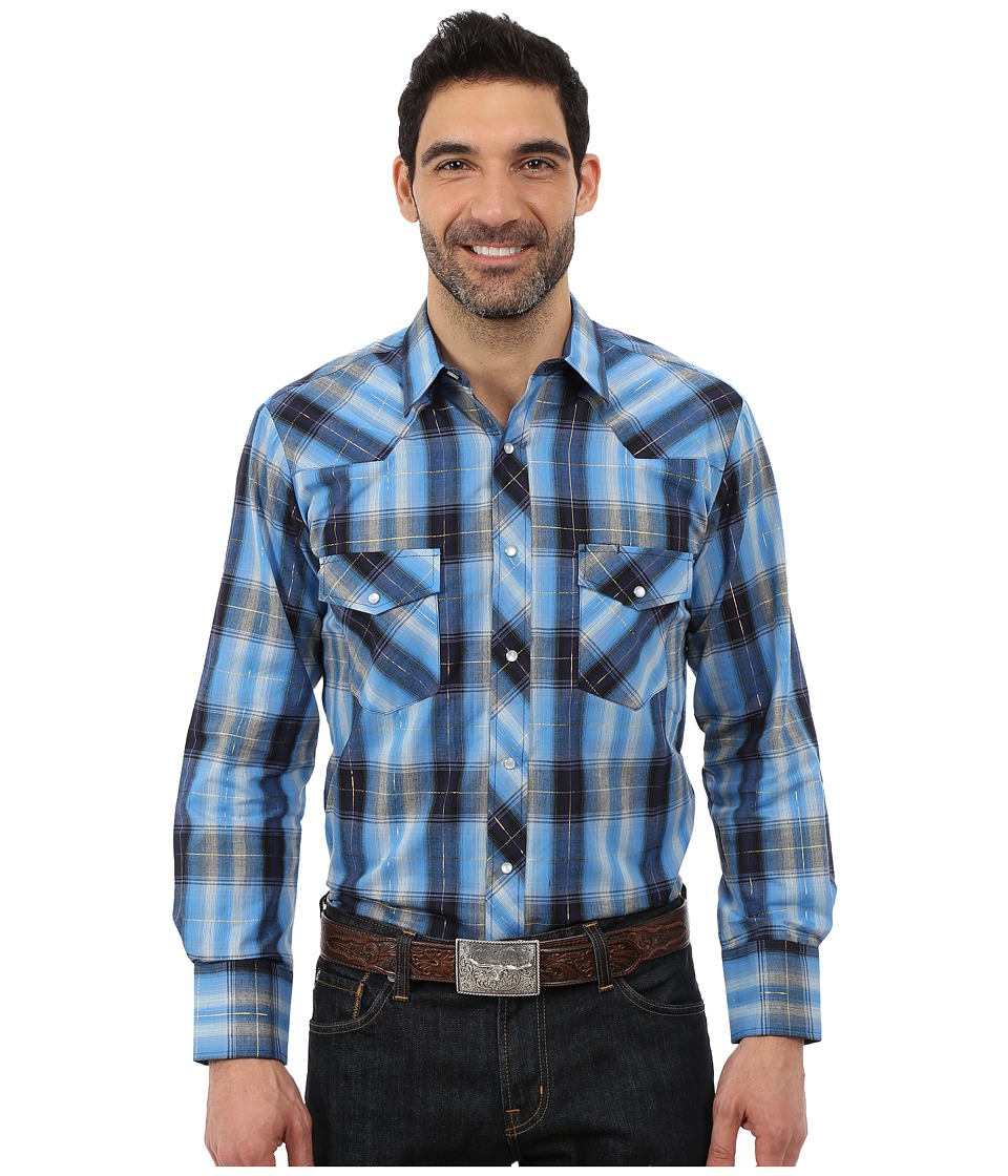 Roper - 0101 Blues Plaid (Blue) Men's Clothing