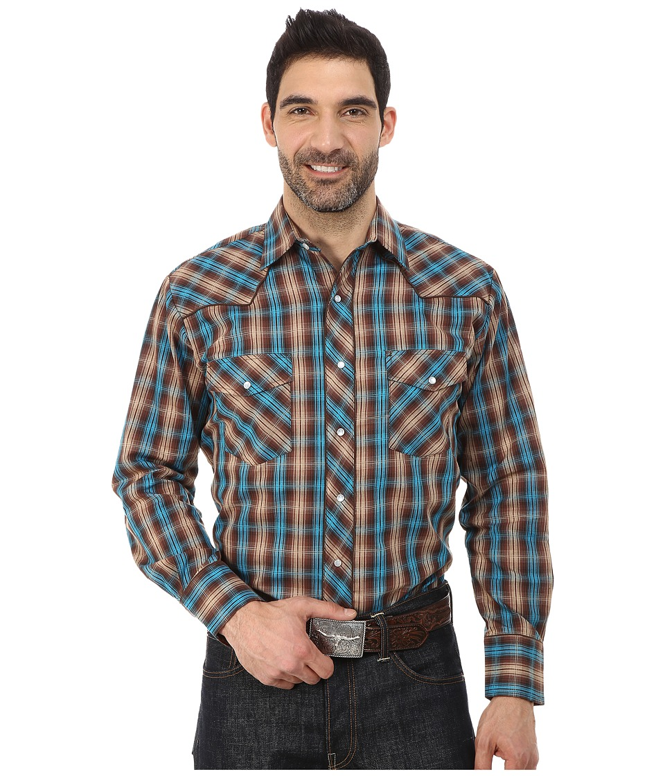Roper - 0105 Brown Blue Plaid (Brown) Men's Clothing